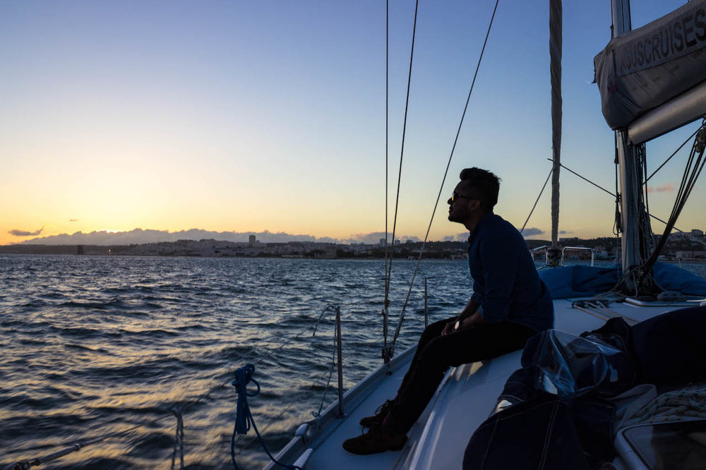 Luis enjoys sunset on the Tagus River
