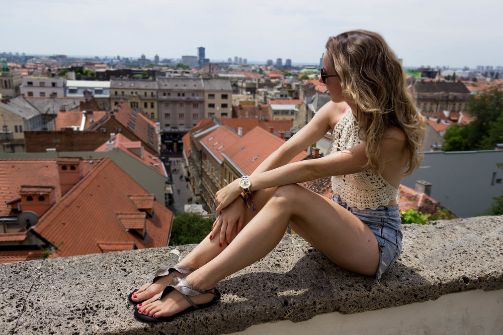 A lookout point in Zagreb (in front of Lotrscak Tower)