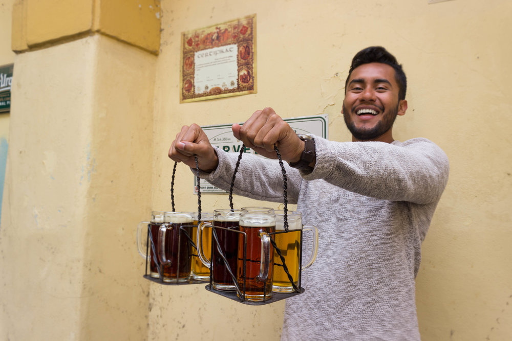 Luis enjoying the vast Czech beer selection
