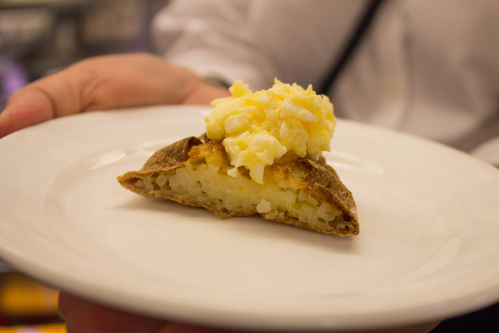 Finnish pastry topped with egg and butter at  Finska Butiken