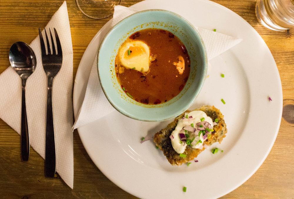 Fish soup and a side of herring at  Kajsas Fisk ,