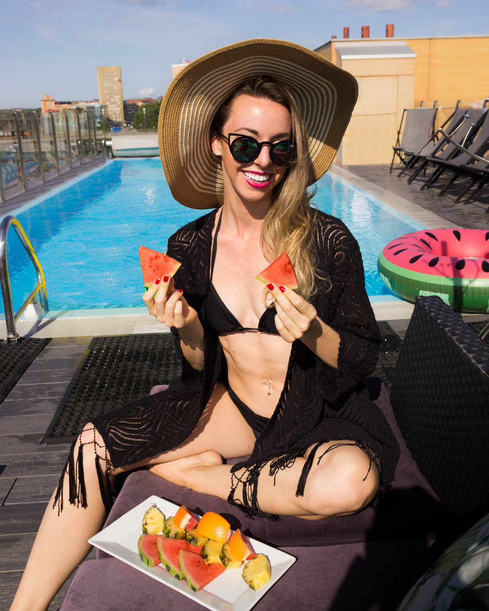 Fresh fruit to enjoy at the beautiful Selma City Spa pool, in my  Amita Nathani Tassel Fringe Kimono