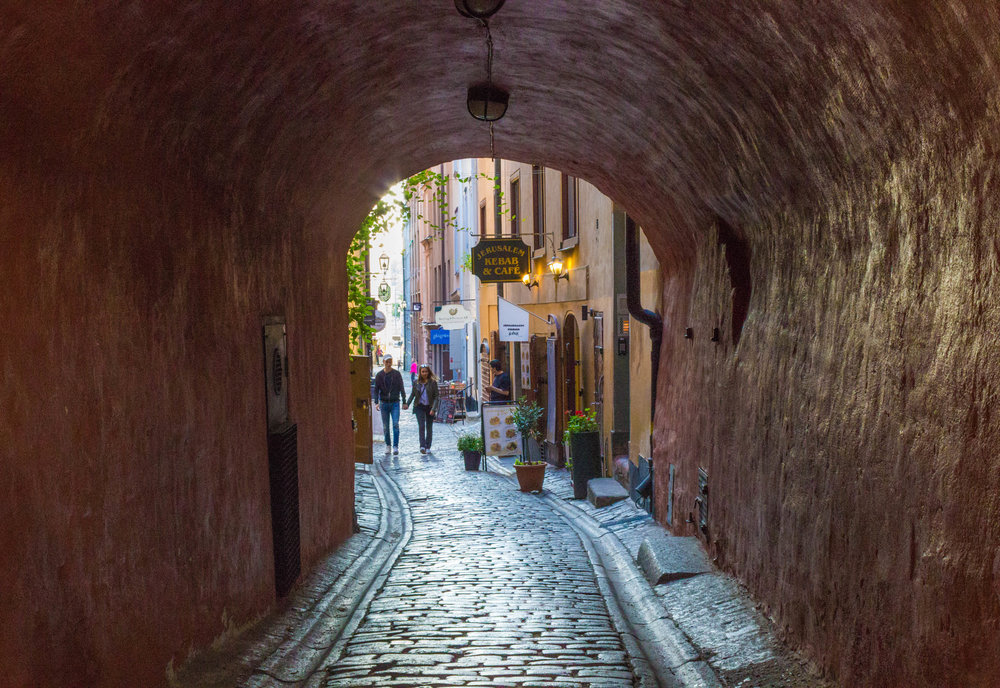 Gamla Stan is a beautiful part of Stockholm with an old town feel.