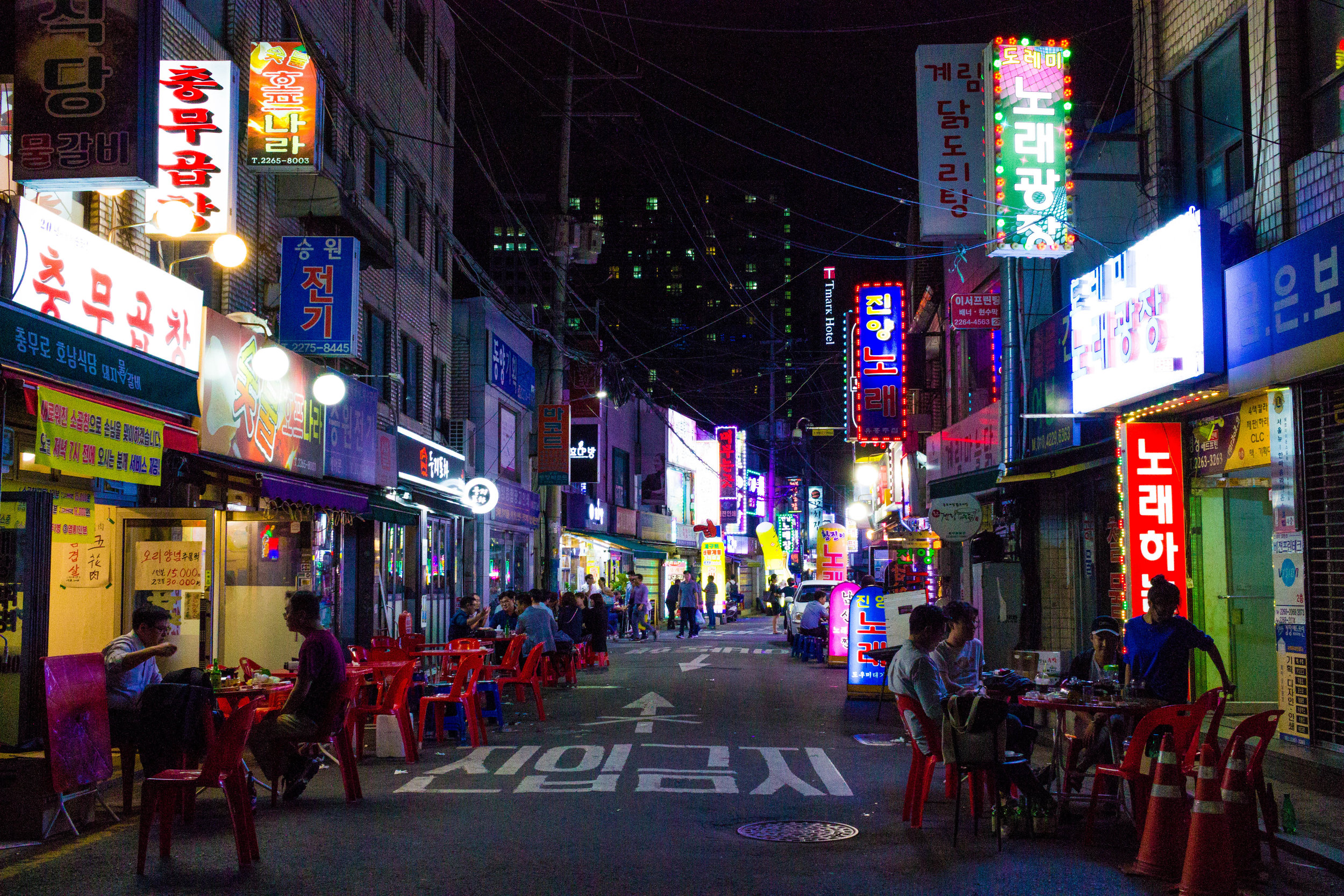 A street in Jongno-Gu lit up on a Monday evening