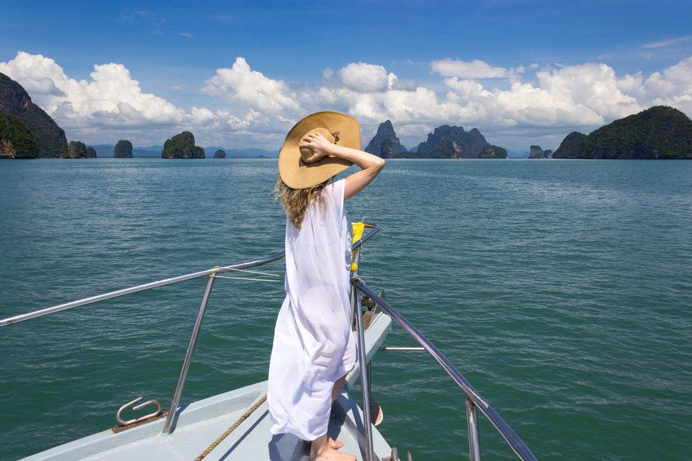 Enjoying the boat ride to James Bond island with Sea Cave Canoe