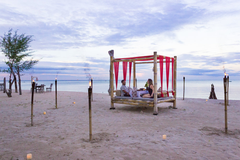 A sunset dinner on the beach at Hotel Tugu Lombok