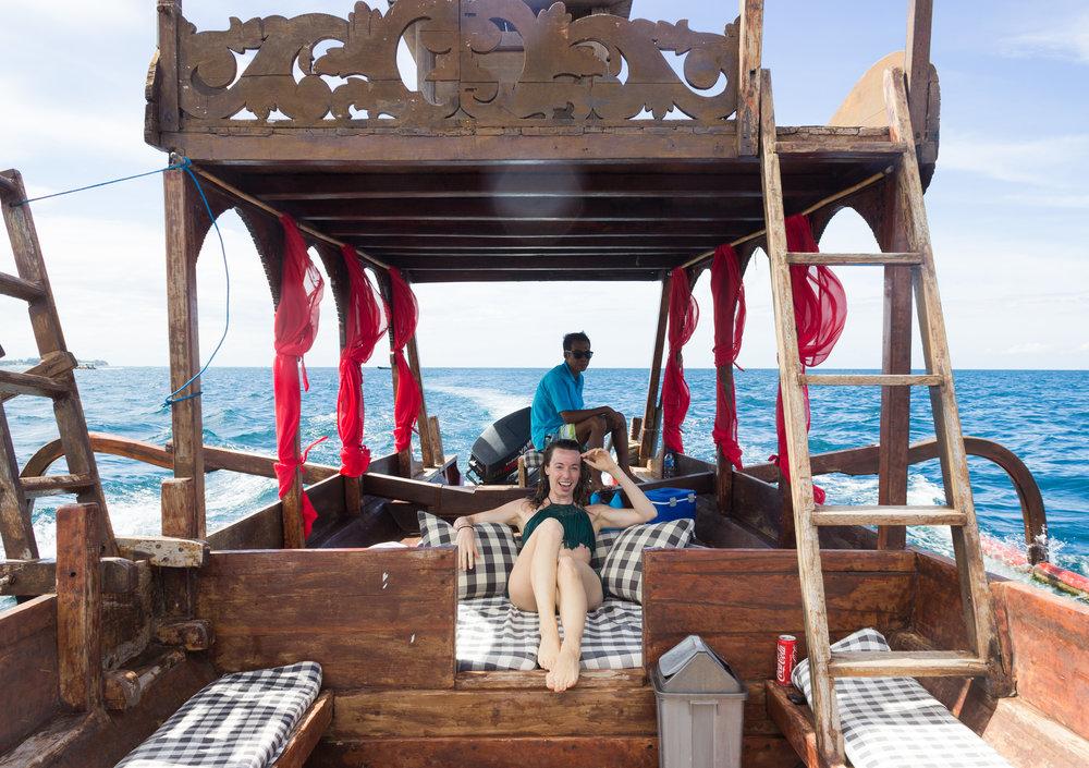 Enjoying the snorkeling trip on Hotel Tugu's dragon boat!