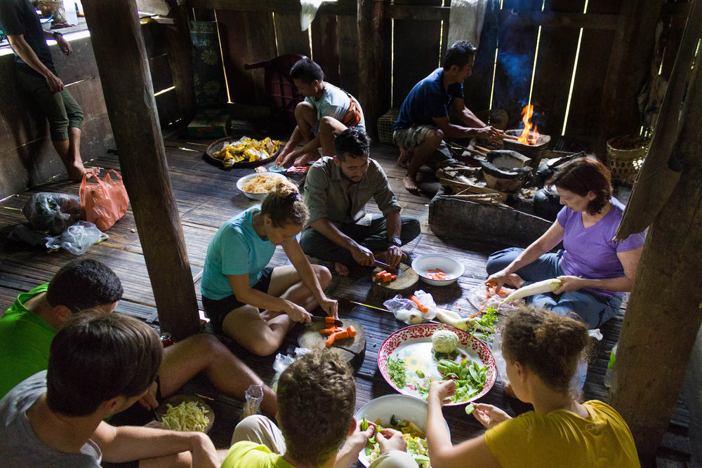 Cooking in a stilted hut with local tribes - Northern Thailand