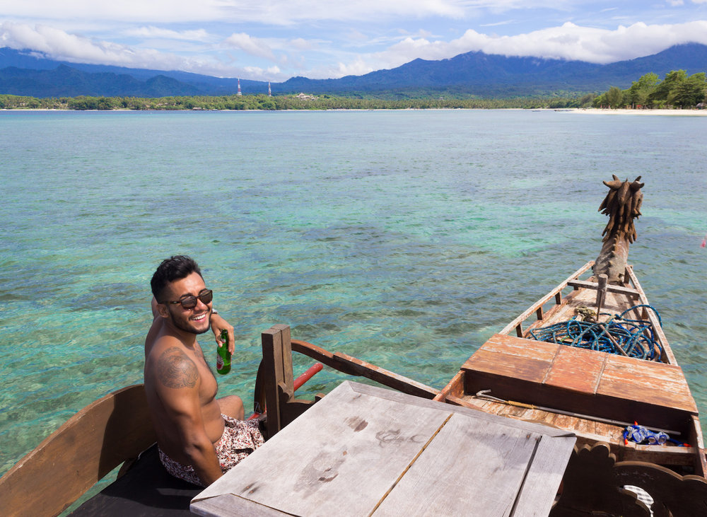 Snorkeling off the coast of the Gili Islands