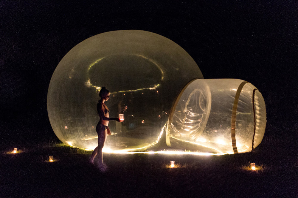 Night time at the bubble hotel