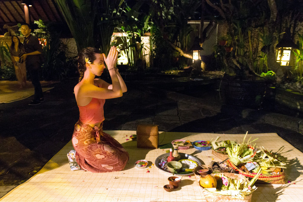 Getting blessed on Bali