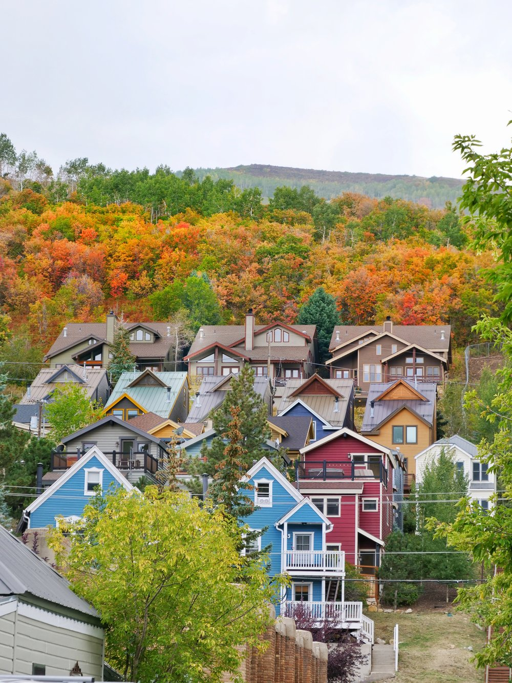 Colorful cottages on a Park City hill