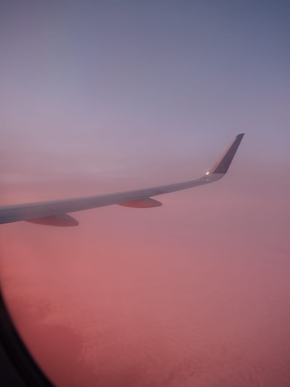 Sunrise on a plane. Photo by: Sarah Funk