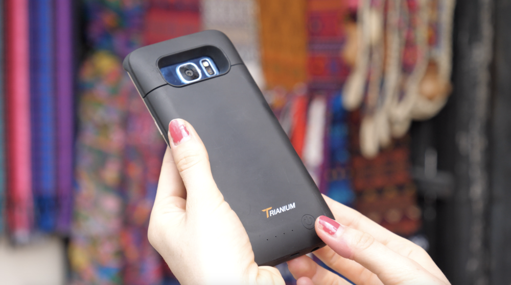 Trianiums rechargeable cell phone case is discreet yet powerful.