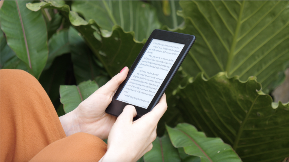 The kindle screen looks more like a book than an electronic device.