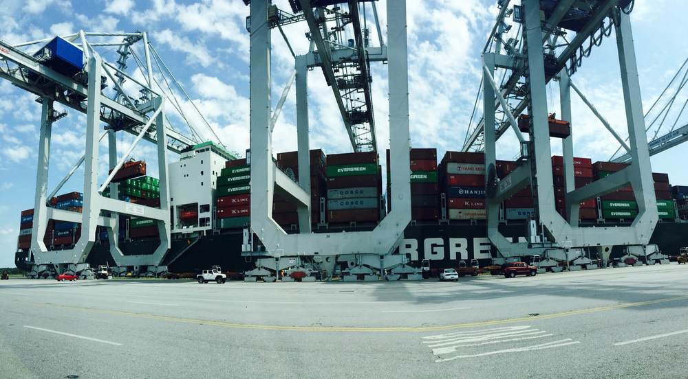 Evergreen  cargo ship at the  Port of Savannah  bound for China.