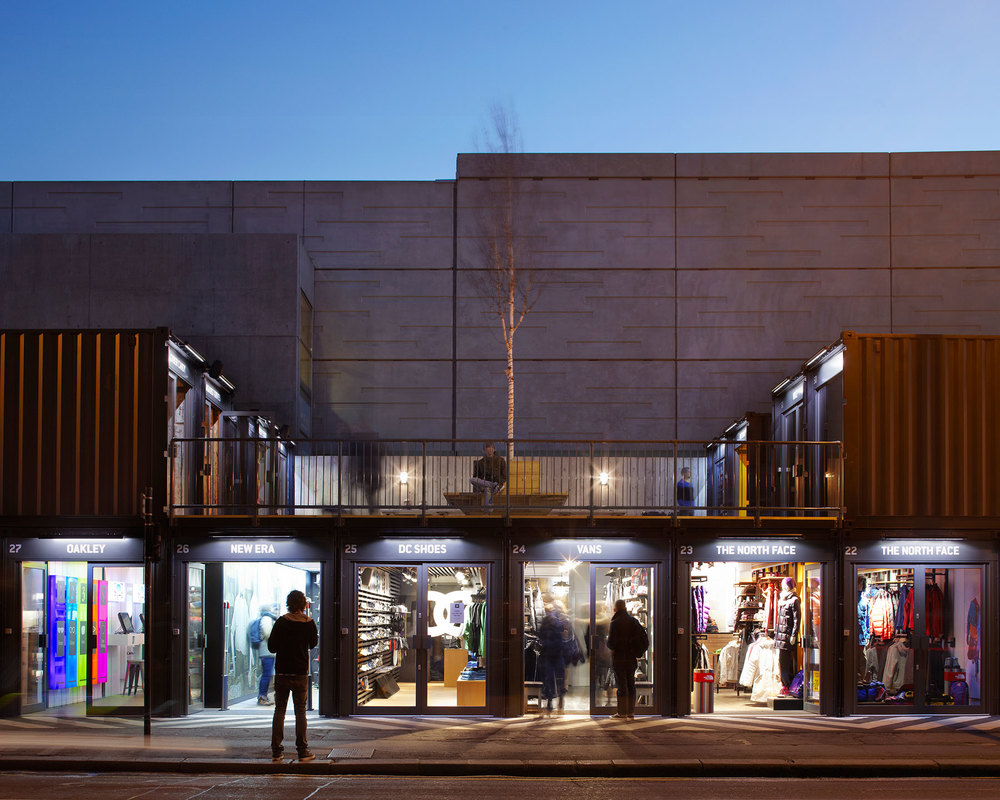 Boxpark Shoreditch  near London, which is a revolutionary pop-up container mall, bringing commerce and community together as well.
