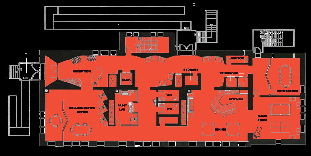 First floor plan, ©2012 Caroline Ingalls.