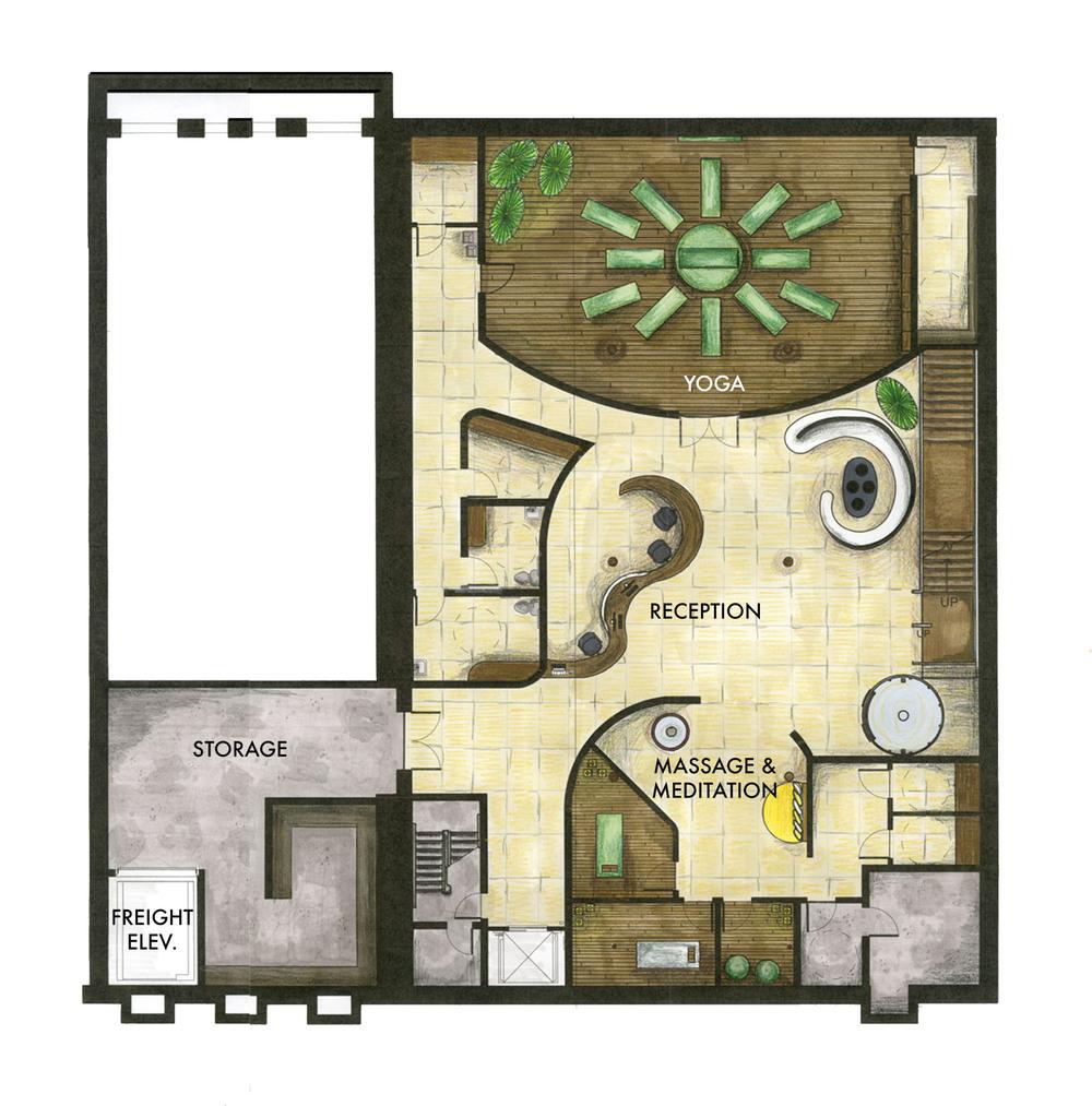 Basement floor furniture plan. ©2011 Caroline Ingalls.