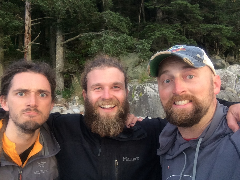 Just three guys hanging out on an uninhabited Alaskan island