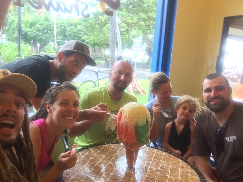 Seven Alaskans enjoying a winter in Hawai'i and sharing a Hawaiian delicacy...Shave Ice!