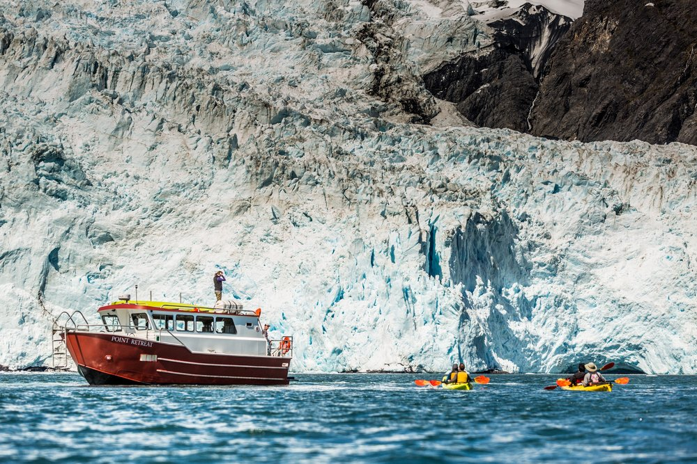 Grand Day Wildlife Cruise & Glacier Kayak Tour - 7:30 am - 4:30 pm, ages 8+5/15/19 - 9/2/195 hr Wildlife Cruise3 hr Glacier Kayaking Picnic LunchHighlightsKenai Fjords NP, Glaciers, Marine Mammals, Sea Birds
