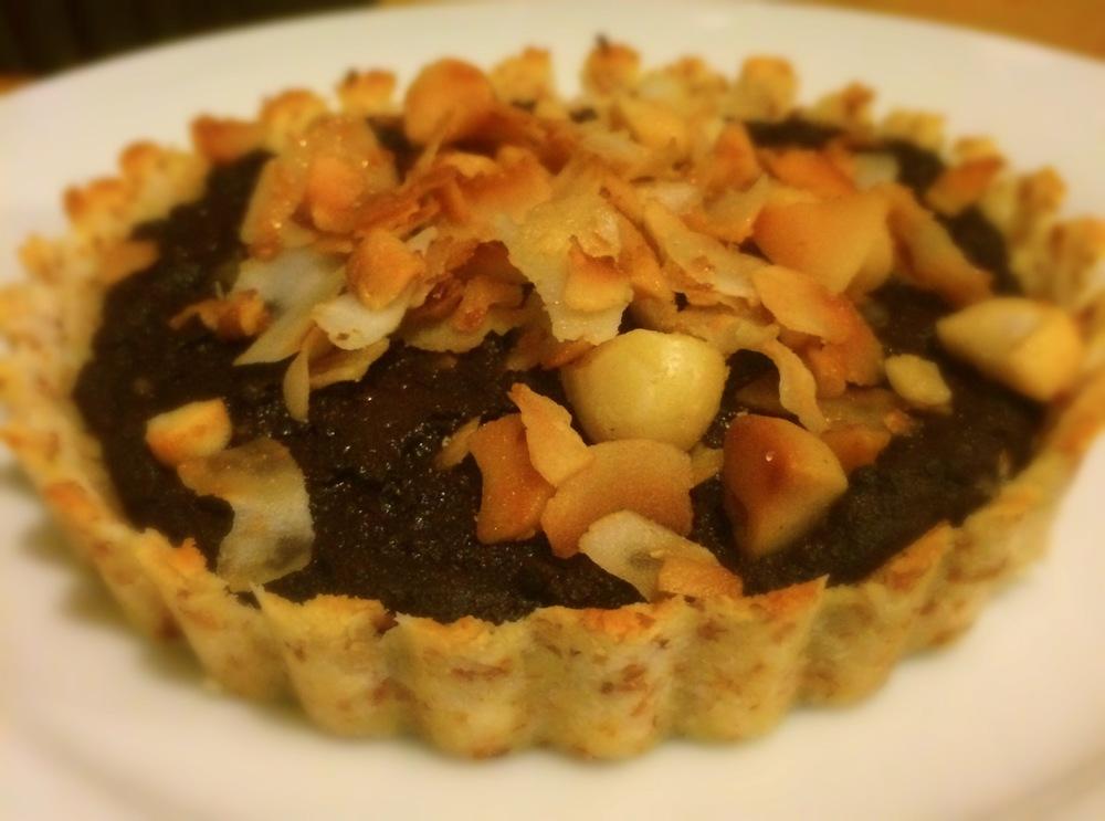 Chocolate, Coconut, Macadamia Tart