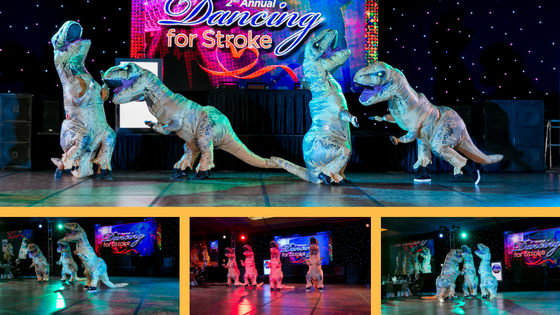 Dinosaurs stormed the stage and danced the Y.M.C.A.