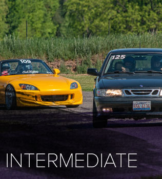 The intermediate group is for drivers that have done 5 or more track days and have expert knowledge and application of the basics of on-track driving. Intermediate is the perfect group to begin to improve your on-track skills and learn about driving at speed on track. Instructors are available for all intermediate drivers upon request.