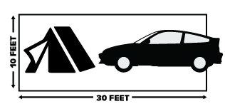 This is the size of your camping spot. You decide how much fits, but only one vehicle is allowed per spot.