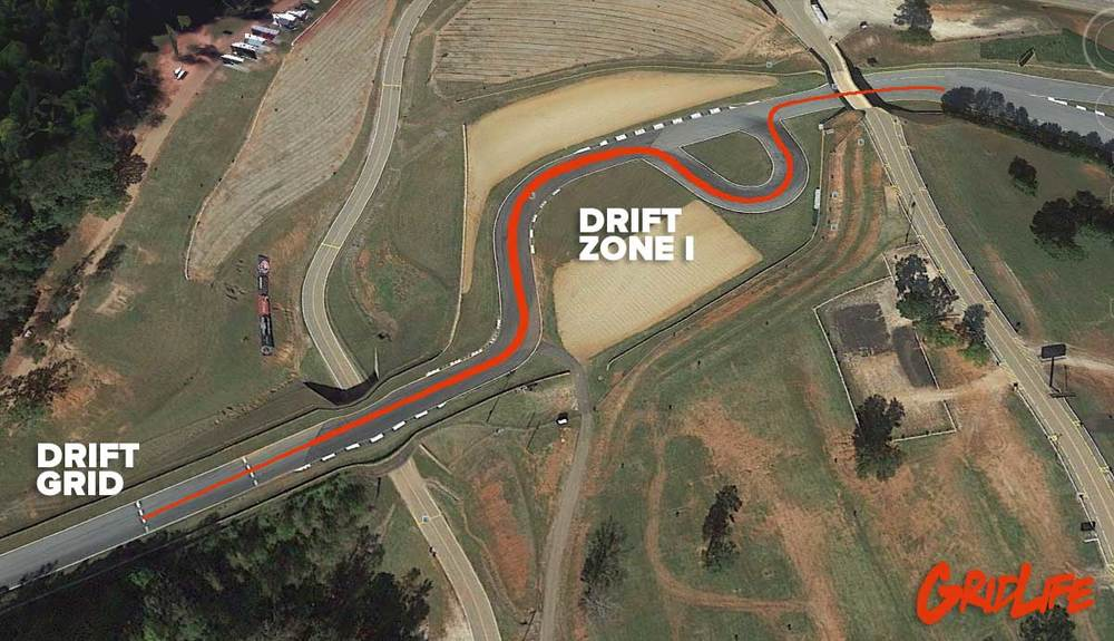 The first Drift zone will feature the previous FD course with drivers starting at the top of turn 9 blasting through turn 10a & 10b into the Horseshoe and rocketing out under the bridge at turn 11.