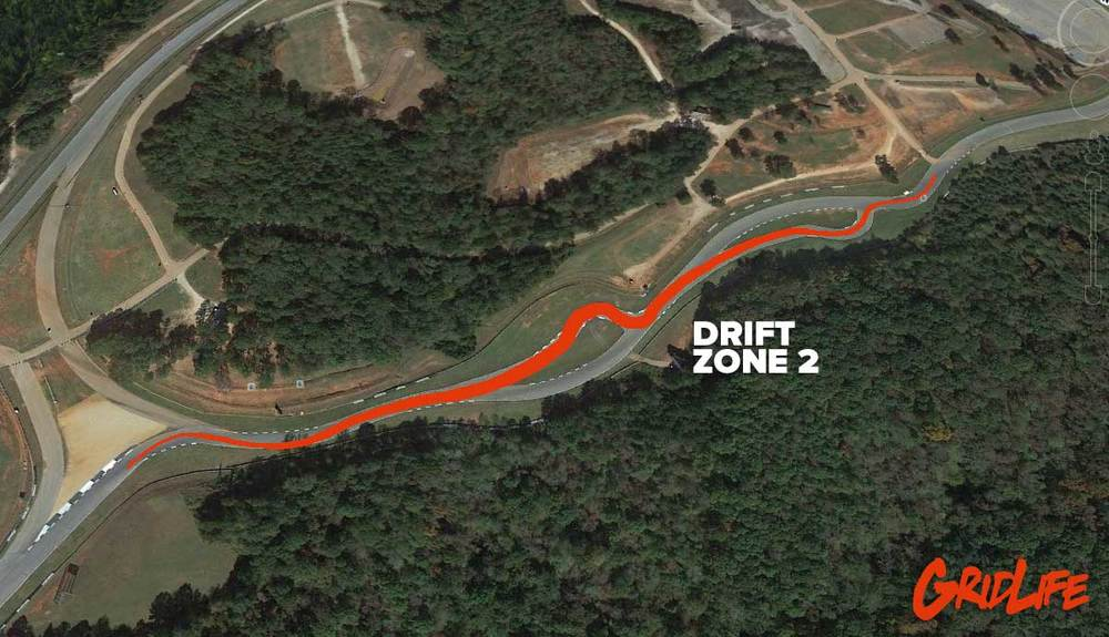 The Second Zone will feature downhill shredding using the alternate or motorcycle Esses Beginning at Turn 2 and extending out to Turn 5.