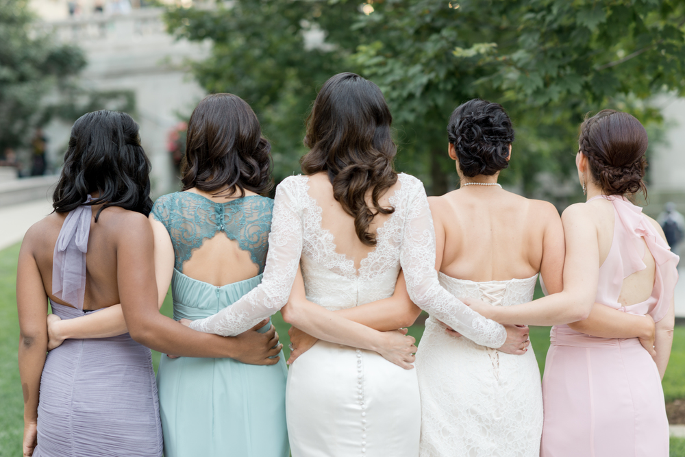 Here is the beautiful bride Katie and her bridesmaids before her timeless Chicago wedding.