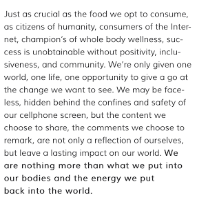 "Alexandra Dawson of  www.inmybowl.com  in response to a sea of backlash from fellow vegans in regards to a post she did on encouraging the choice of consuming ""ethically raised"" meats from small local butchers and farmers. You can view the entire post here as it was featured on Cameron Diaz's Body Book website:  http://www.ourbodybook.com/steak-and-potatoes-veganism-in-the-digital-age/"