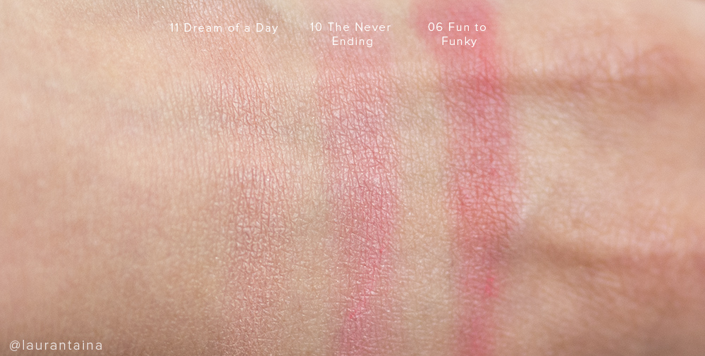 THREE blushes 11 Dream of a Day, 10 The Never Ending and 06 Fun to Funky
