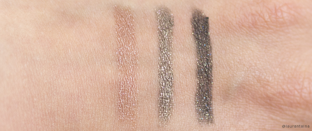 THREE cosmetics pencil eyeliner swatches