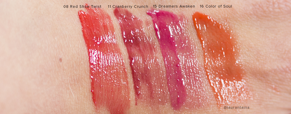 THREE Shimmering Lip Jam swatches