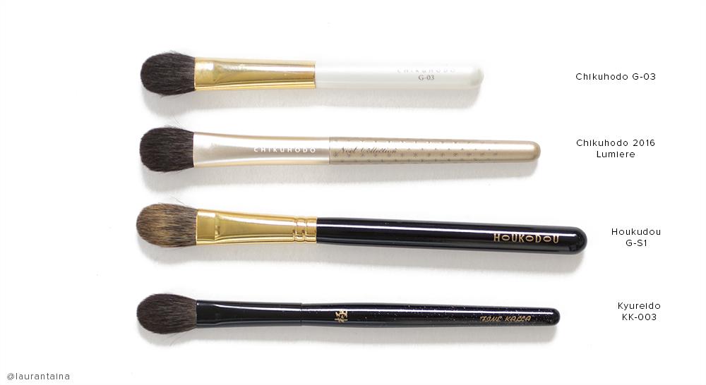 Kyureido KK-003 eyeshadow brush comparison