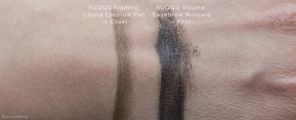 SUQQU Eyebrow Pen and SUQQU Eyebrow Mascara swatches (Khaki)