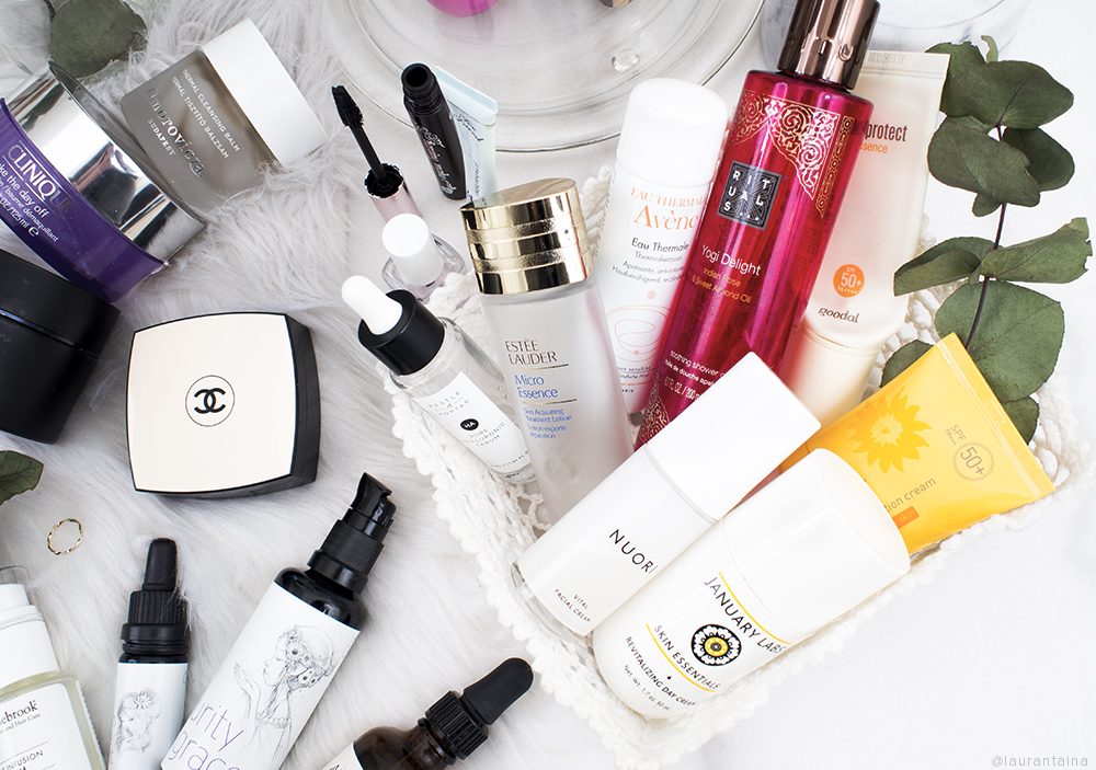 Flatlay - Skincare and Makeup Empties of 2018