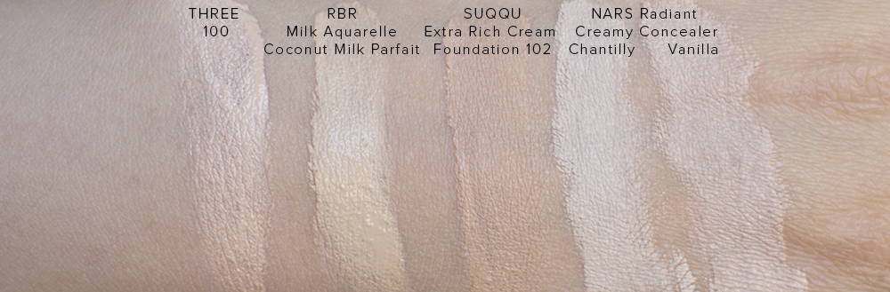 THREE Angelic Synthesis Foundation Serum Swatches