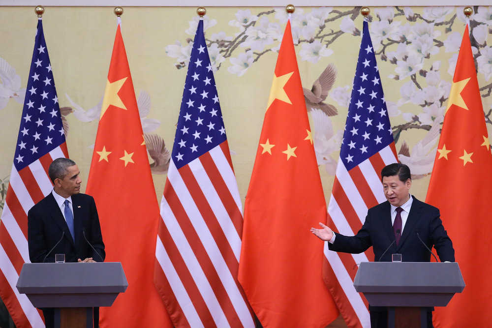 U.S. President Barack Obama (left) and Chinese President Xi Jinping at a press conference