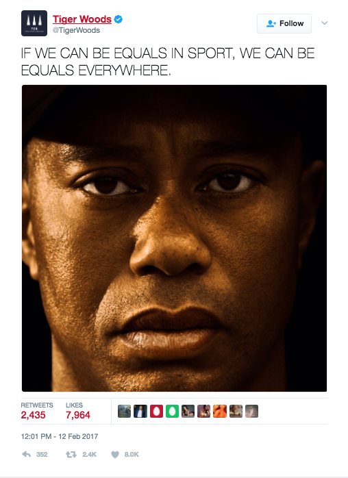 Tiger Woods' Tweet.