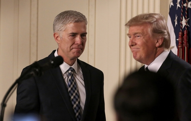 From left to right: Judge Neil Gorsuch, President Donald Trump