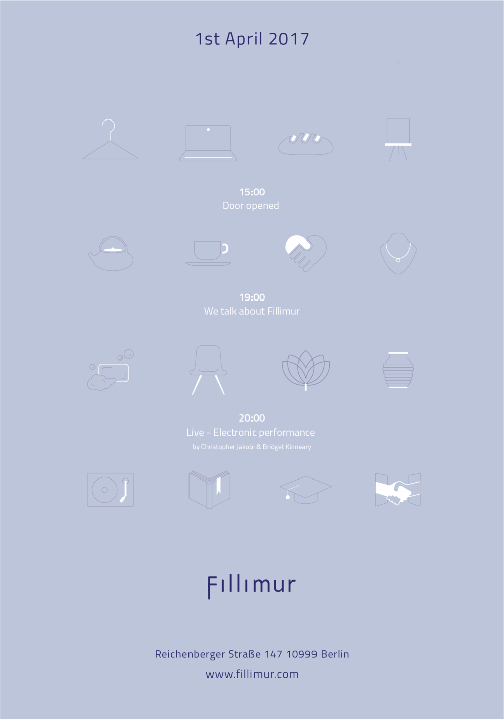 Come by Fillimur official launching party next Saturday 01/04/17  at  Fillimur — a Space connecting creatives Reichenberger Straße 147 10999 Berlin  Line up:  15:00 Door opened 19:00 We talk about Fillimur 20:00 Live - Electronic performance by Christopher Jakobi  Experimentalstudio Mitte-Nord  & Bridget Kinneary Our launching party finger foods are designed by  Nikamomektofood   Get your e-invitation at  www.fillimur.com   Fillimur, a Space powered by  DAMUR  GmbH Fillimur branding designed by  Guy Lee ,  http://www.guyisnotanartist.com