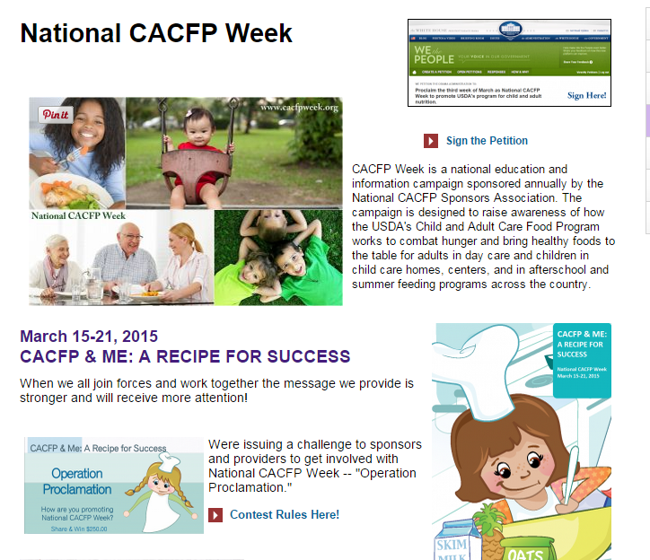 A Picture of the Webpage at cacfp.org