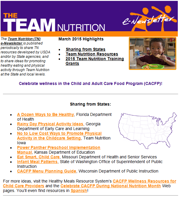 This is just a picture the links are not live.  Sign up for Team Nutrition's Newsletter or click on the picture and get to the state resource sharing page!