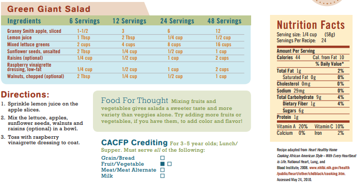 Page 17, Recipe from CACFP Menu Planning Guide, Team Nutrition, USDA, Wisconsin Department of Public Instruction https://fns.dpi.wi.gov/sites/default/files/imce/fns/pdf/menu-planning-guide-web.pdf