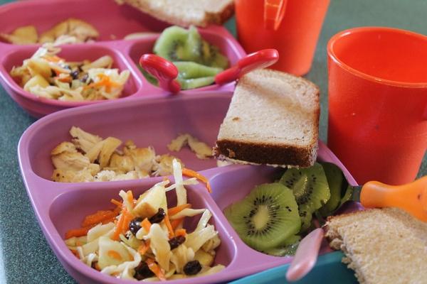 Limemade Chicken, Sweet Summer Salad, Kiwi, Whole Wheat bread, 1% Milk