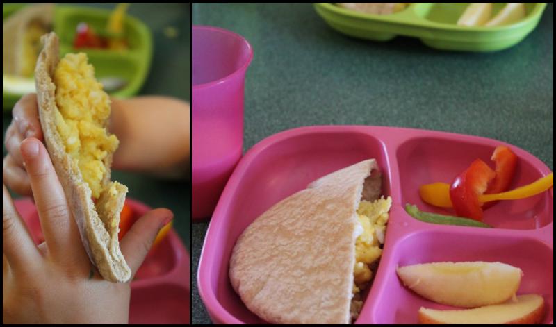 Lunch: Hip-Hop Pita Pocket, Apple Slices, Pepper Slices, 1% Milk